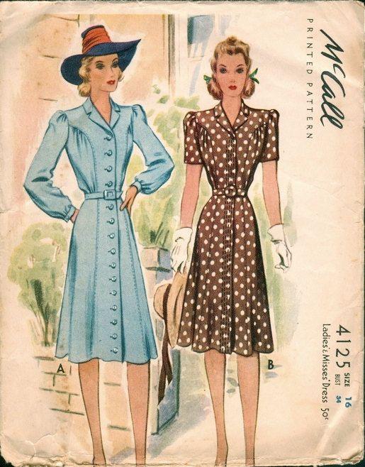 Wunderschöne Vintage 40er Jahre McCall Naht und Gather Detail Shirt ...