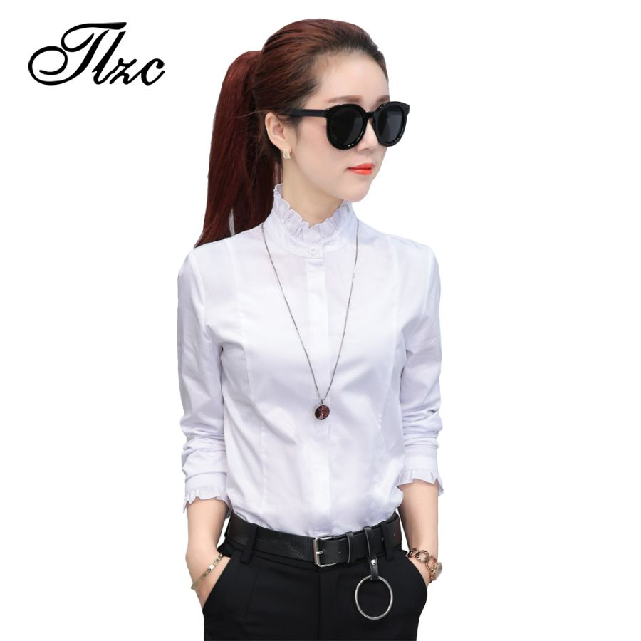 9fcdc1512c857 TLZC OL Elegant Women Cotton Shirts 2017 White Formal Tops Size S-2XL Autumn  Korean Style Long Sleeve Lady Office Blouse