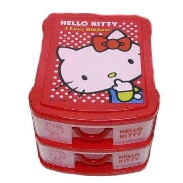 Hello Kitty 2-Drawer Storage Case Chest Red Sanrio Japan Exclusive