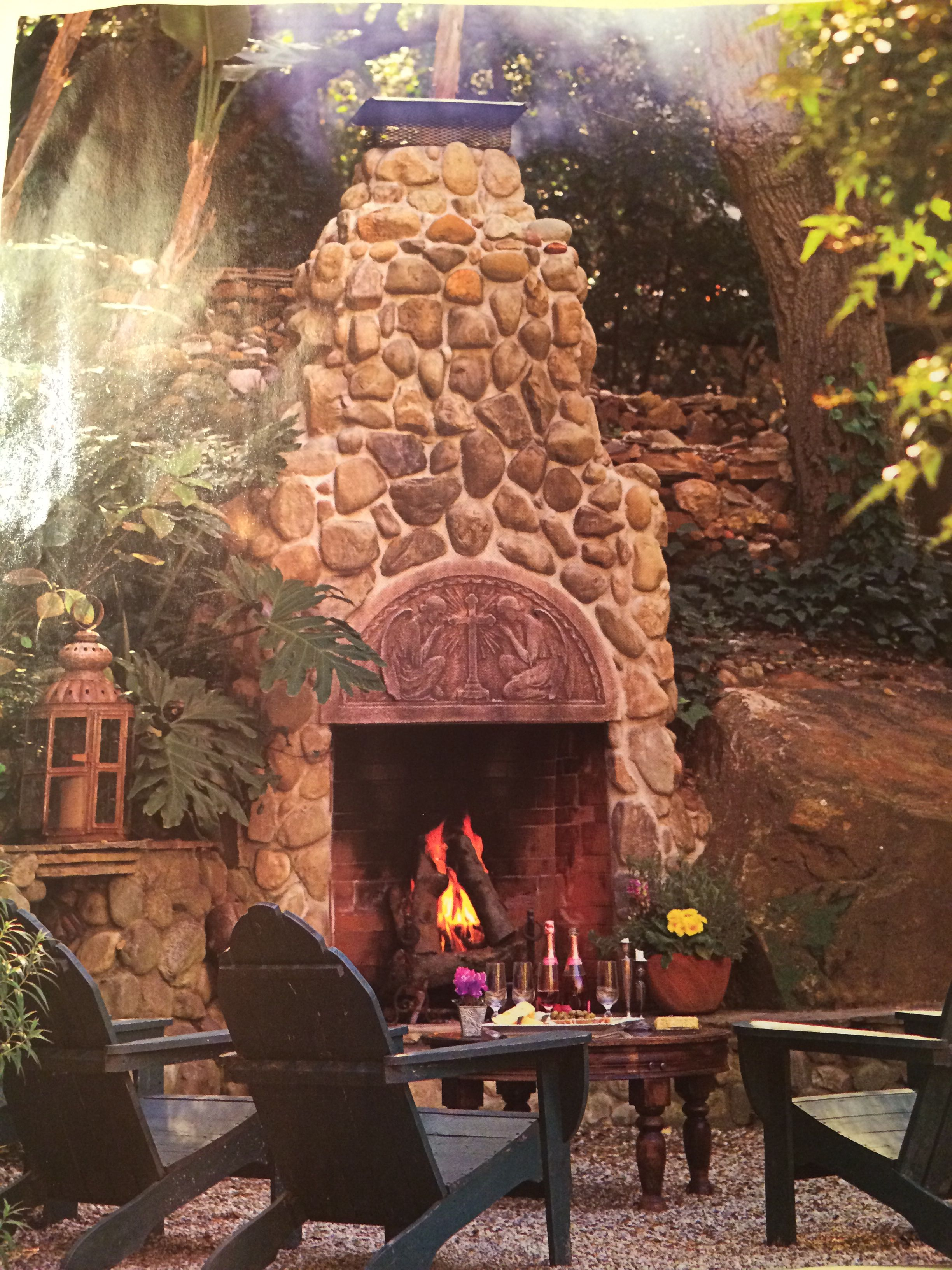 Great Outdoor Stone Fireplace