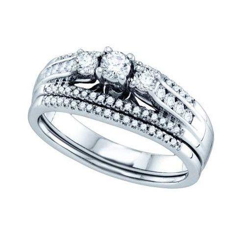 1/2CT-Diamond 3-STONE BRIDAL SET