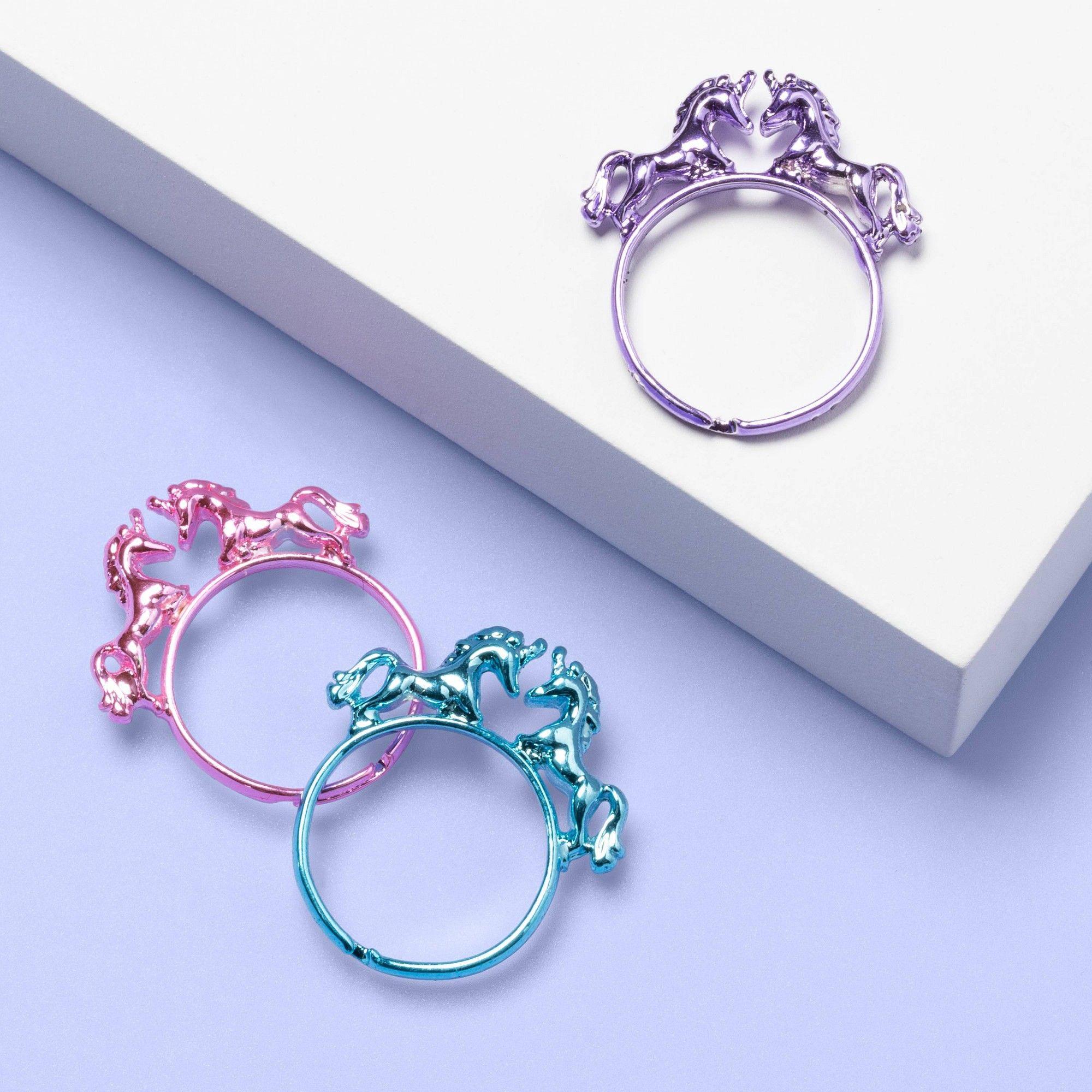 Girls 3pk unicorn ring set more than magic with