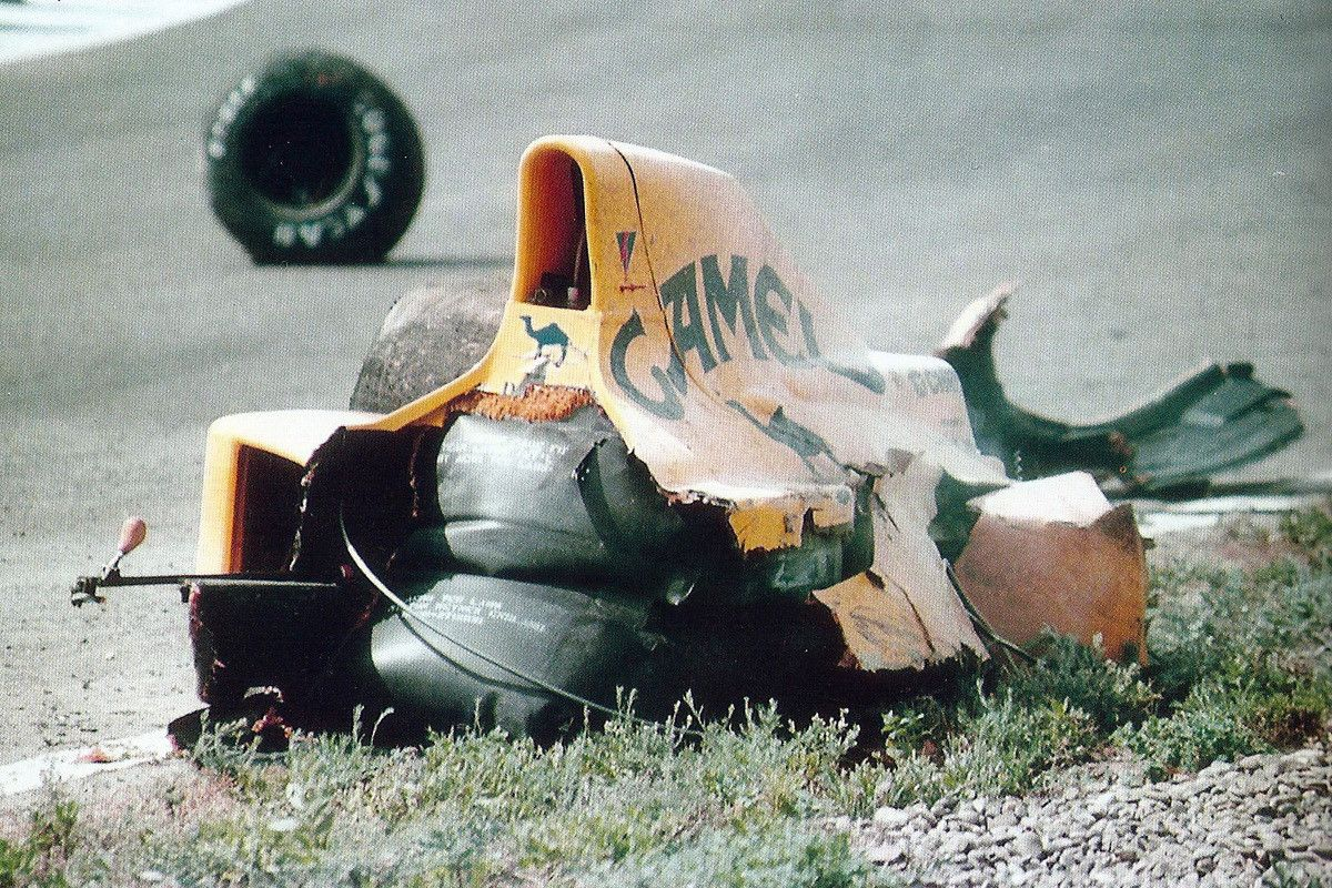 1990 Spanish Grand Prix Martin Donnelly's Lotus after the
