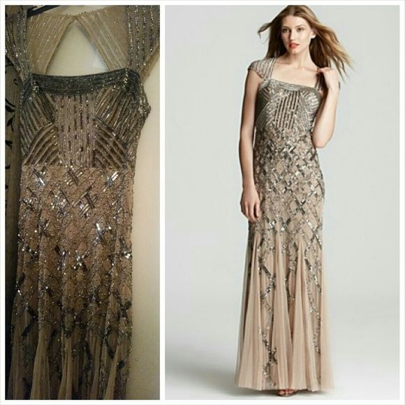 Beige Cap Sleeve Criss Cross Beaded Prom Gown | Adrianna papell ...
