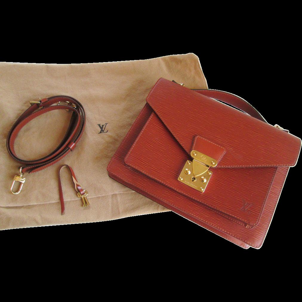 Purse Louis Vuitton Monceau Brown Epi Leather Satchel Bag Handbag Designer
