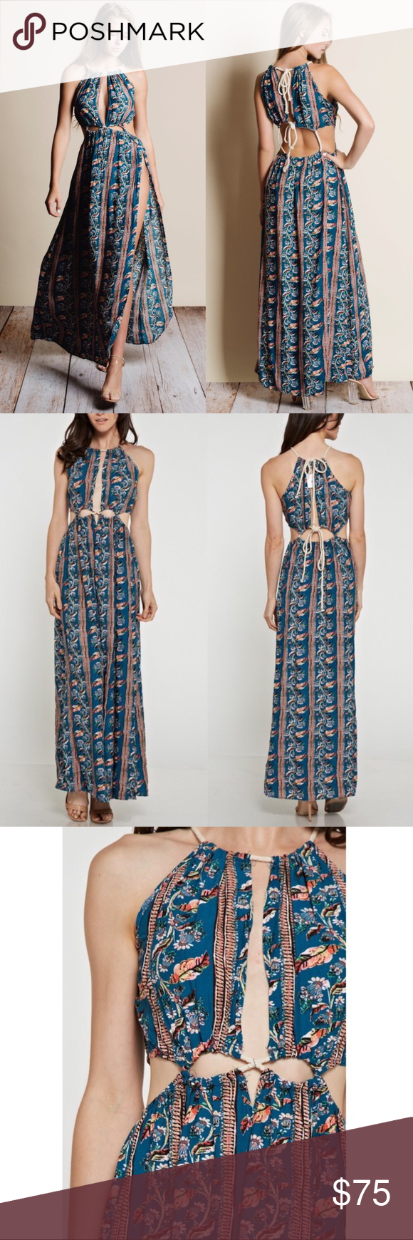 Bohemian cutout maxi dress with slit boutique my posh picks