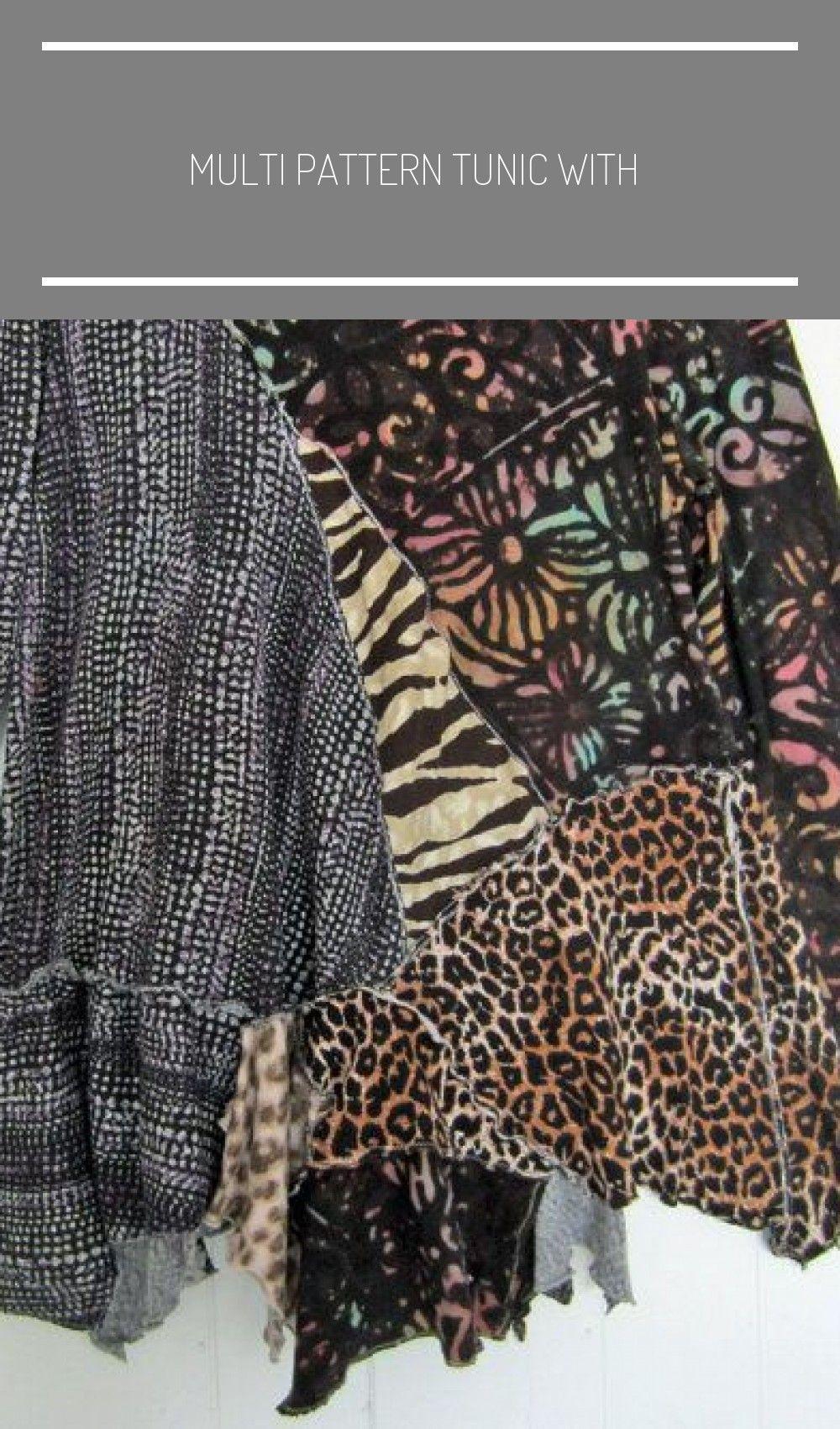 Multi Pattern Tunika mit Animal Print Upcycled von