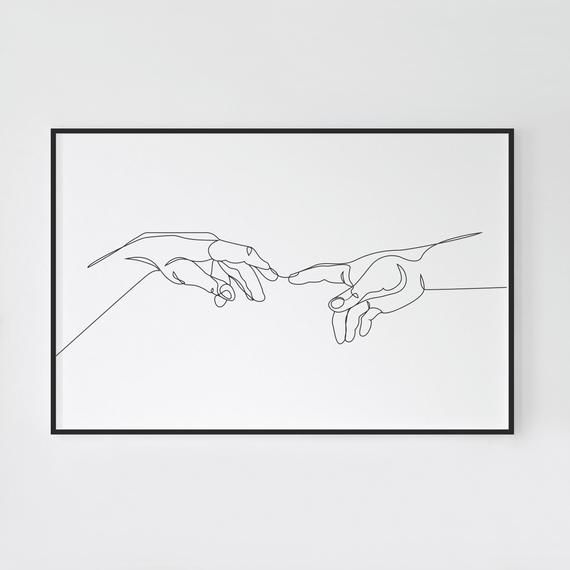 The creation of adam, One line drawing, Adam and god hands, Printable wall art, Black and white sketch art, Hands print, Home wall decor