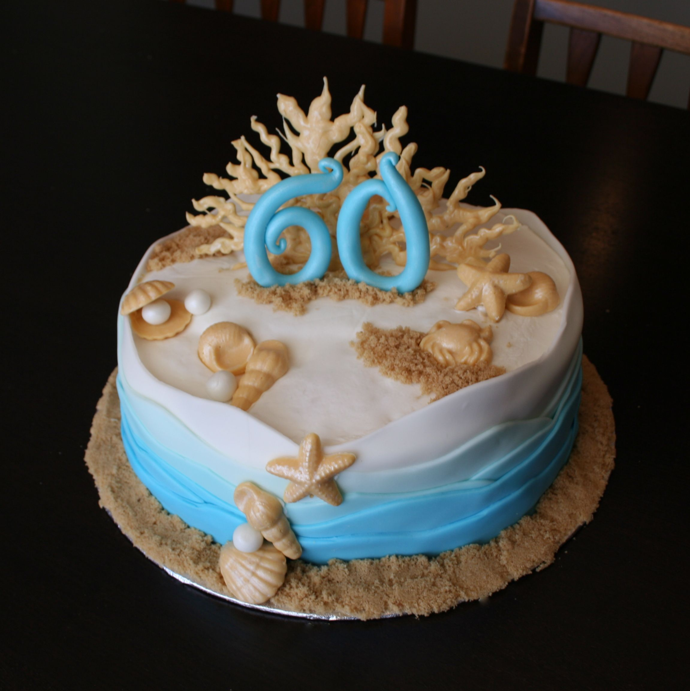 Sophisticated Elegant Coastal Beach Themed 60th Birthday Cake Www Polkadota Com