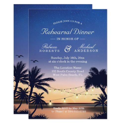 Sunset Beach Wedding Ideas: Palm Beach Sunset String Lights Rehearsal Dinner