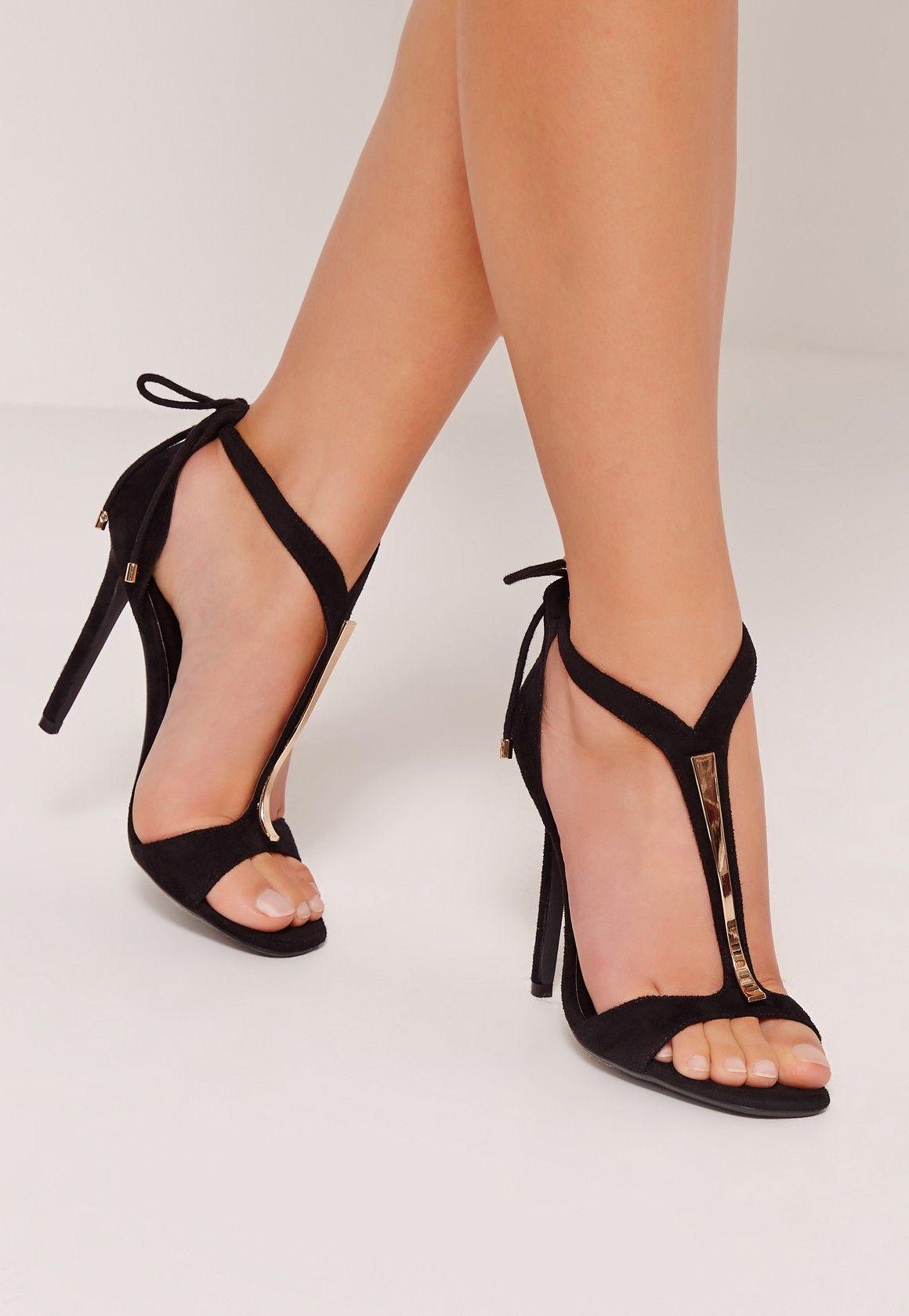 Missguided - Gold Trim T-Bar Heeled Sandals Black