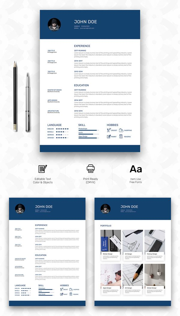 Free Personal Resume Template with Cover  Portfolio Pages Print - resume template for pages