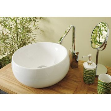 Moon Washbasin Ceramic White Leroy Merlin 38 X 38 X 16