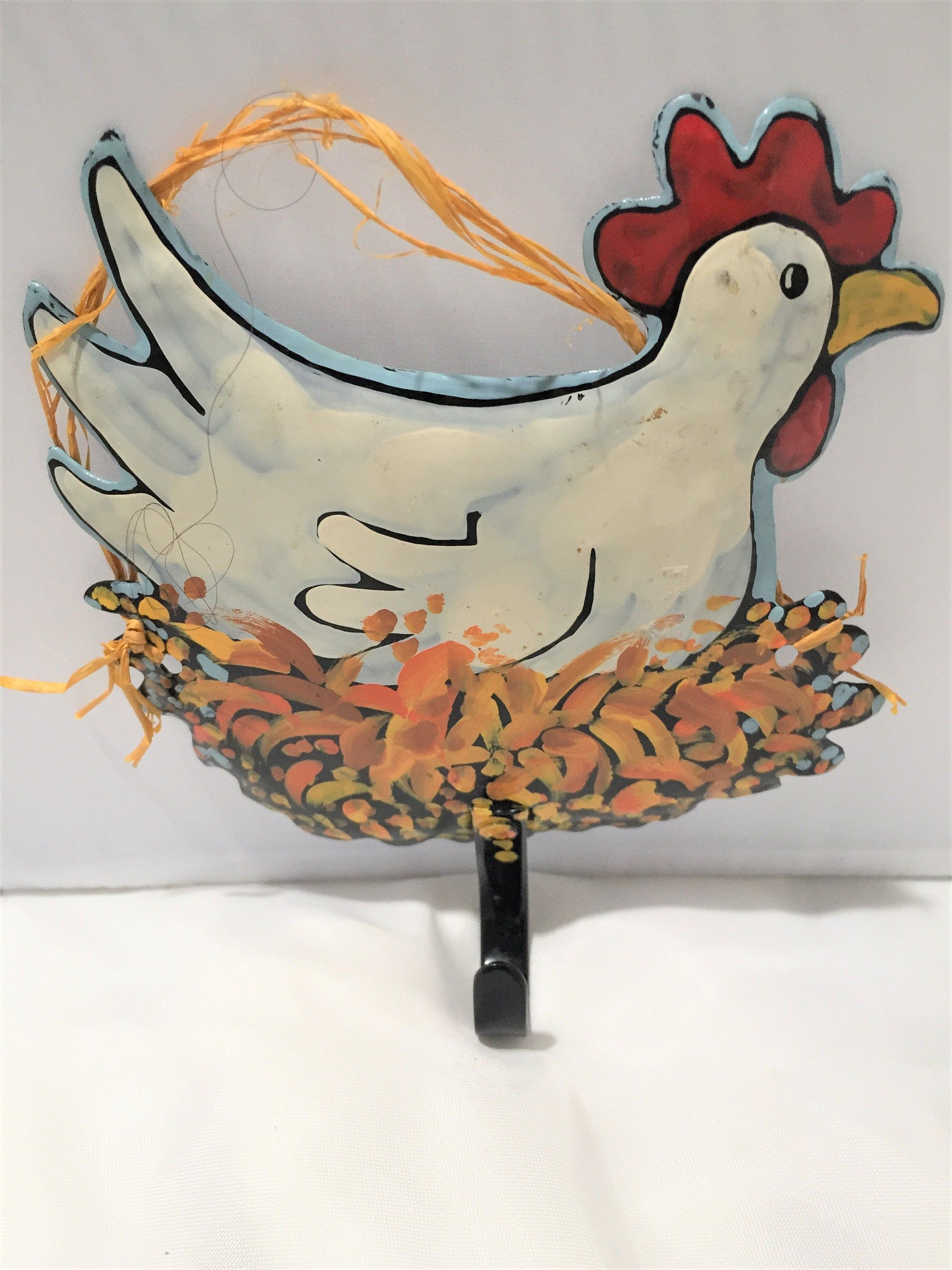 Tin Chicken Hook Tin Hen Tea Towel Hook Nesting Chicken Pot Holder Hook Free Usa Shipping Hassle Free Returns Everything Vintage Kitchen Tea Towels Towel Hooks Vintage Kitchen