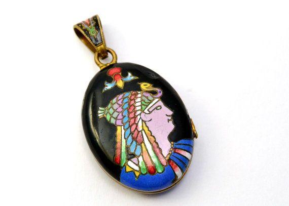 SOLD Vintage Art Deco Egyptian Revival enamel pharaohs head gilt brass locket pendant *** $140 at Pipit Vintage