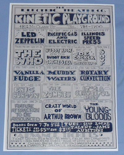 Led Zeppelin - 1969 - Kinetic Playground, Chicago Illinois - Concert Poster