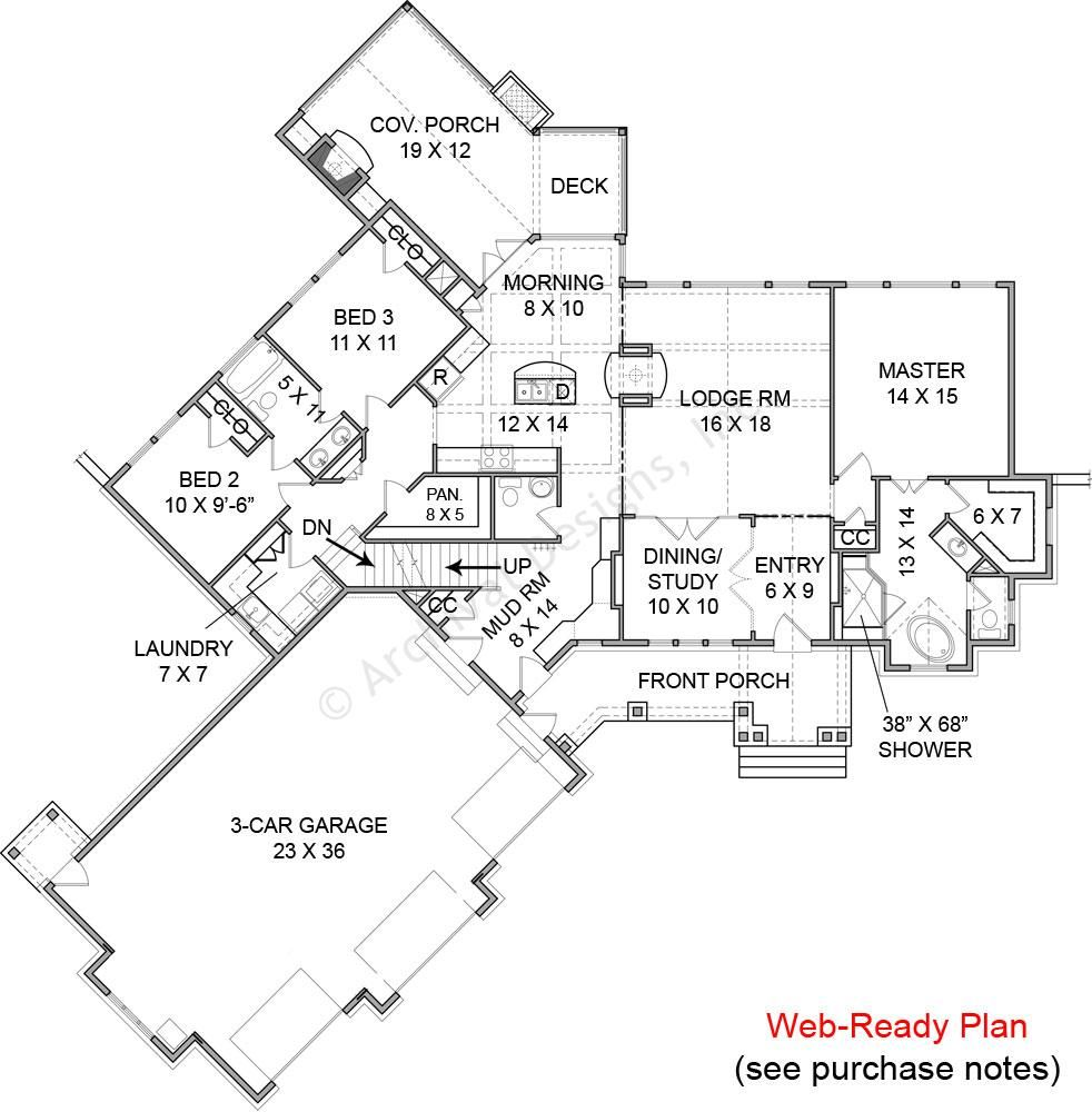 2000 Sq Ft The Ashville Cottage House- First Floor Layout
