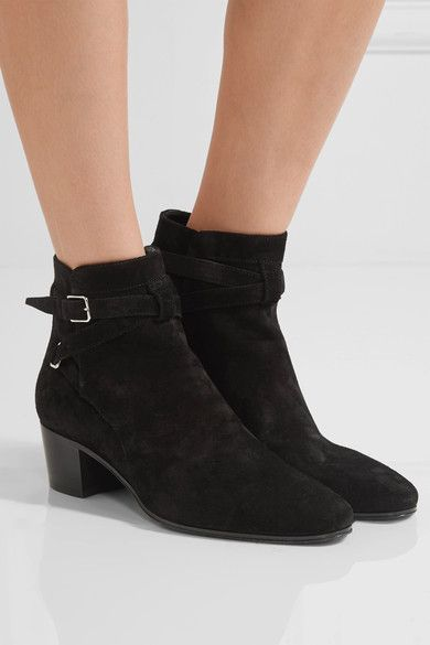 fe14100c0f1b Heel measures approximately 40mm  1.5 inches Black suede Buckle-fastening  ankle strap Made in Italy
