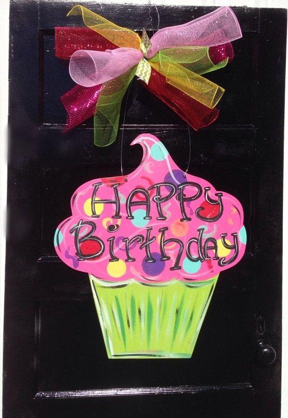 Birthday door hangercupcake door by Furnitureflipalabama on Etsy