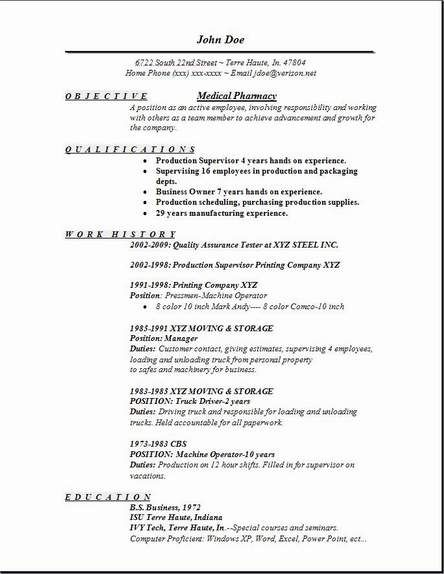 Medical Pharmacy Resume Example -    jobresumesample 661 - production pharmacist sample resume