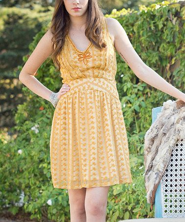 Another great find on #zulily! Gold Lace Lady Diana Sleeveless Dress - Women by Nick & Mo #zulilyfinds $34.99