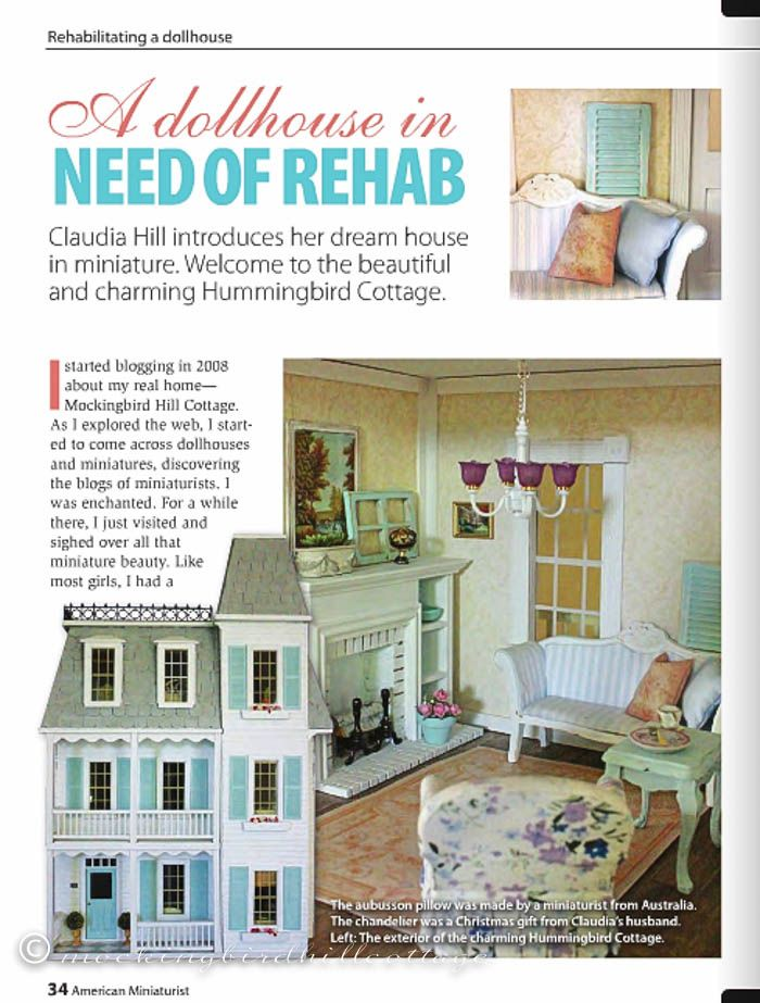 The article about my dollhouse in the August American Miniaturist magazine.