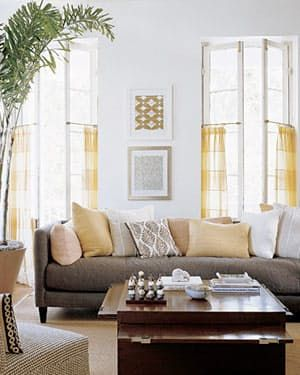 Diy Cafe Curtains From Martha Stewart Living Room Grey Yellow Colonial
