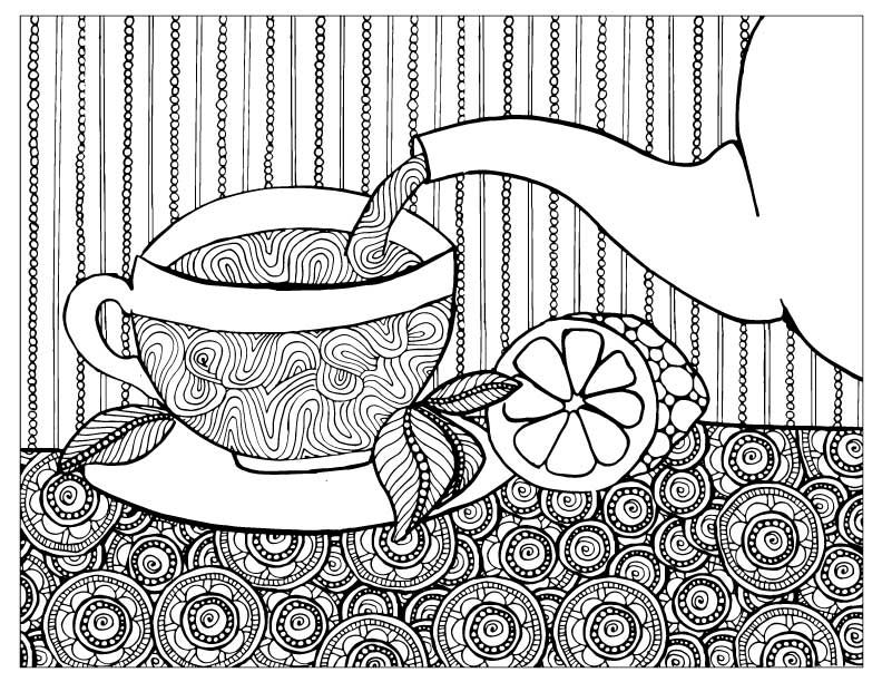 Adult Coloring Pages perfect for tea time!
