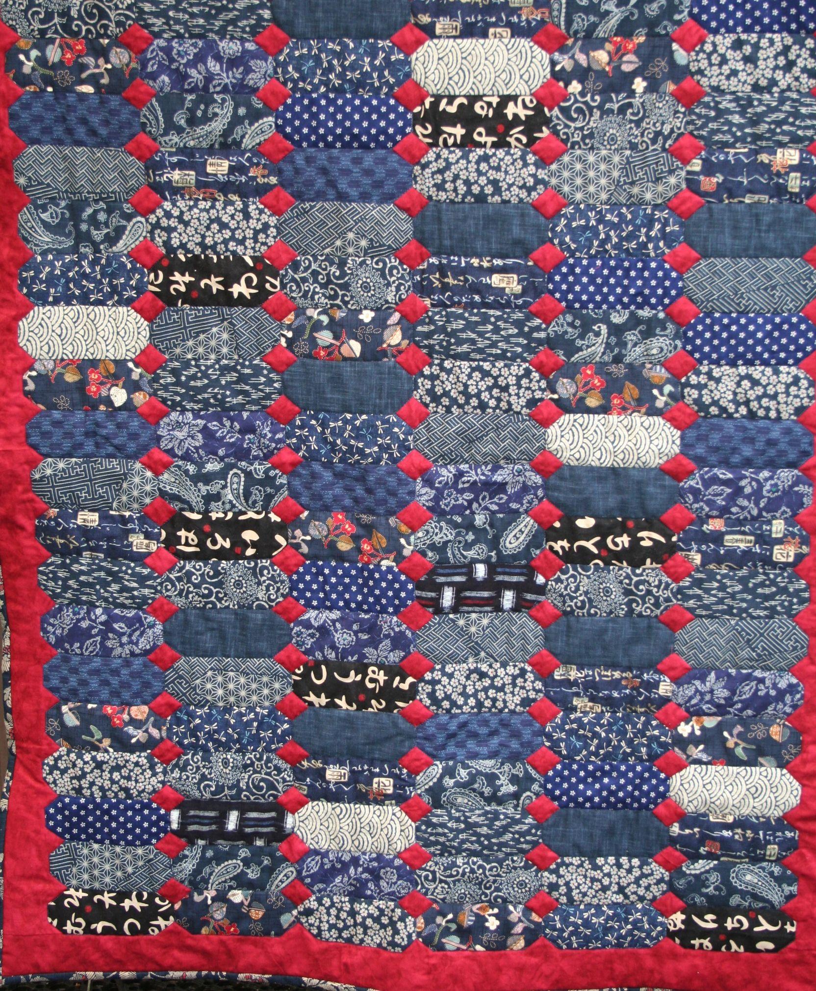 Mostly Japanese Indigo Fabric Quilt All Hand Made A