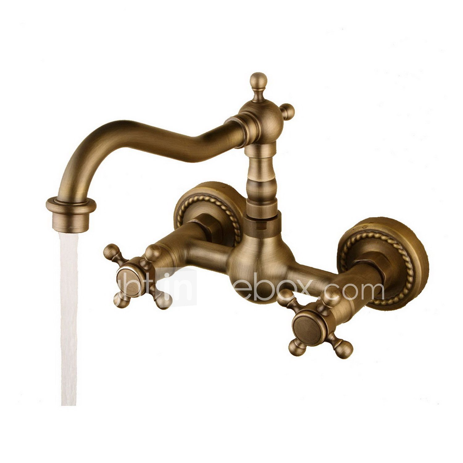 Photo of Sink Faucet – Rotatable Antique Bronze Wall Mount Two Holes / Two Handles …
