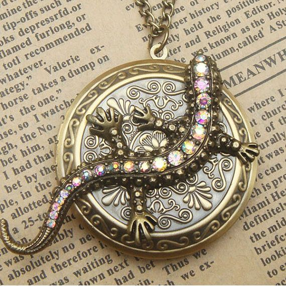 Steampunk Lizard Locket Necklace Vintage Style Original Design Locket Necklace Vintage Locket Necklace Locket