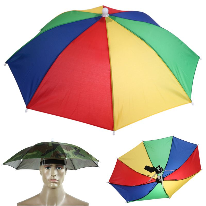 Hands Free Portable 55cm Usefull Umbrella Hat Sun Shade Camping Fishing Hiking Festivals Outdoor Brolly 2 Colors Fishing Umbrella Umbrella Foldable Umbrellas