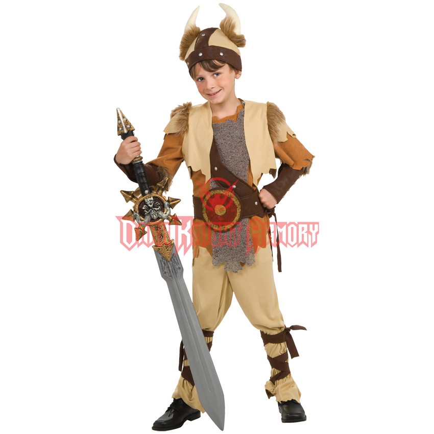 DELUXE VIKING BOY COSTUME MEDIEVAL WARRIOR SAXONS CHILD/'S FANCY DRESS OUTFIT
