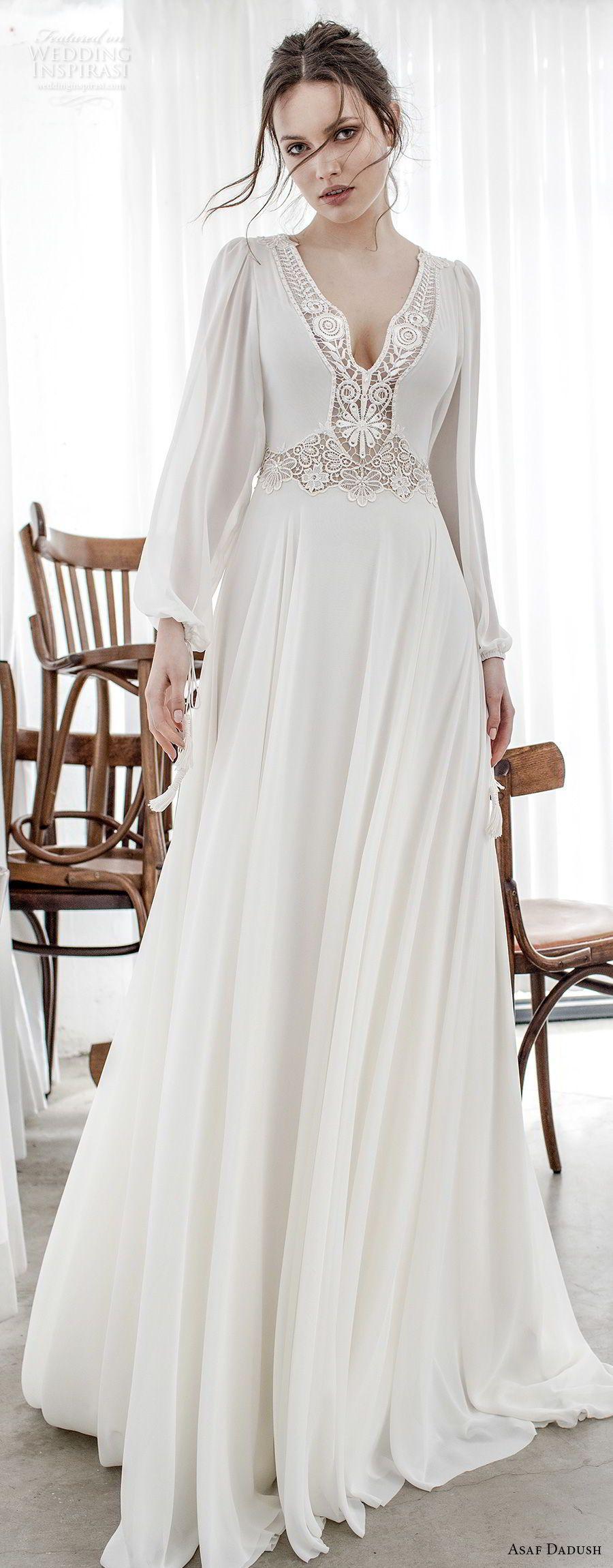 asaf dadush 2017 bridal long bishop sleeves v neck lighly embellished bodice romantic bohemian soft a  line wedding dress cross strap back sweep train (14) lv -- Asaf Dadush 2017 Wedding Dresses