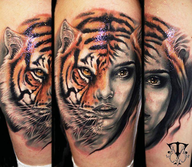 Tattoo Woman Reading: Tiger Face By Mirel Tattoo