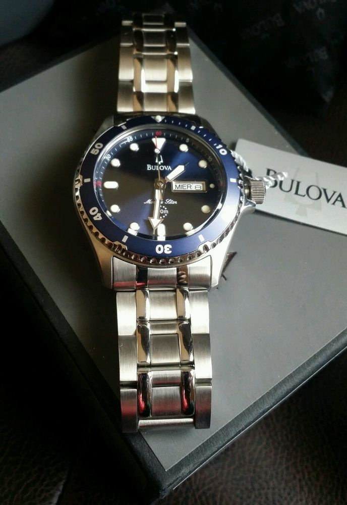 a99b2f437 Men's Bulova Marine Star Stainless Steel Blue Dial 98C62 #Bulova #Casual