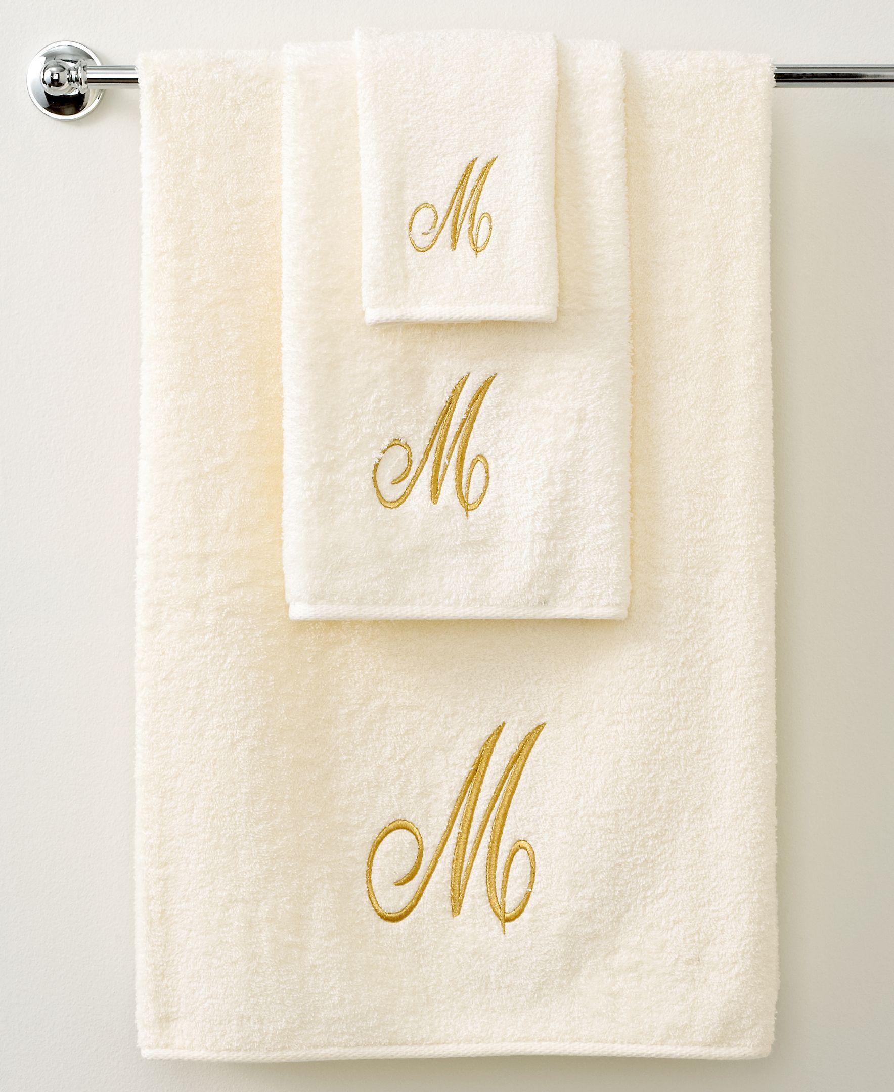 Avanti Bath Towels, Monogram Initial Script Ivory and Gold 16\