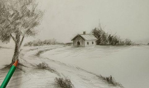 apprendre à dessiner le croquis du0027une maison à la campagne - apprendre a dessiner une maison