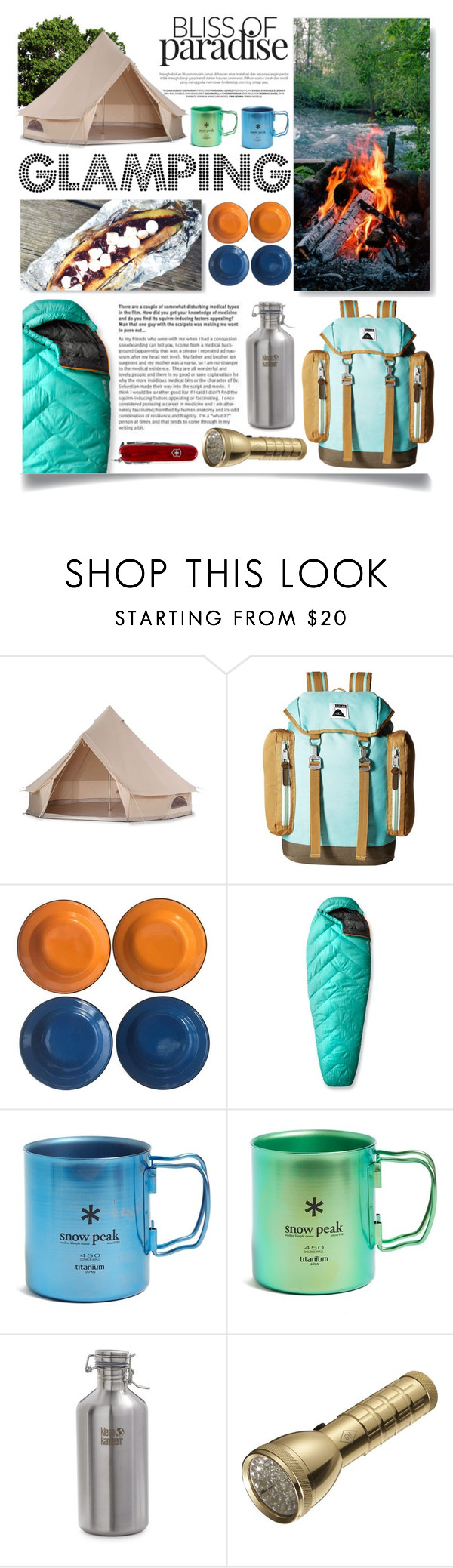 """""""Let's Go Glamping!"""" by ittie-kittie ❤ liked on Polyvore featuring interior, interiors, interior design, home, home decor, interior decorating, Poler, Mountain Hardwear, Snow Peak and klean kanteen"""