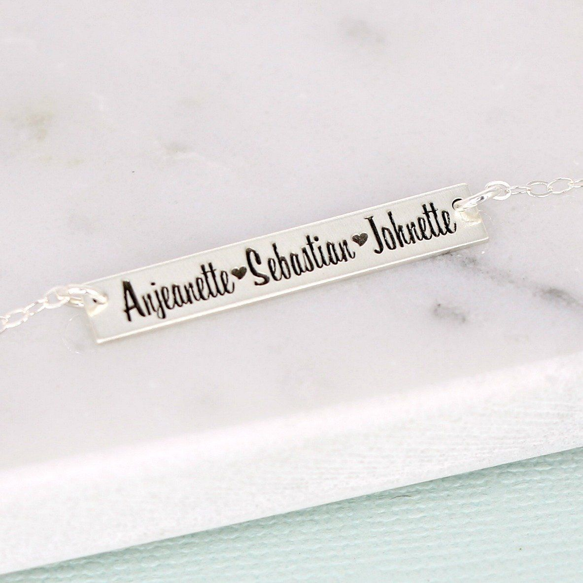 personalized 3 name sterling silver bar necklace - Fun Thick