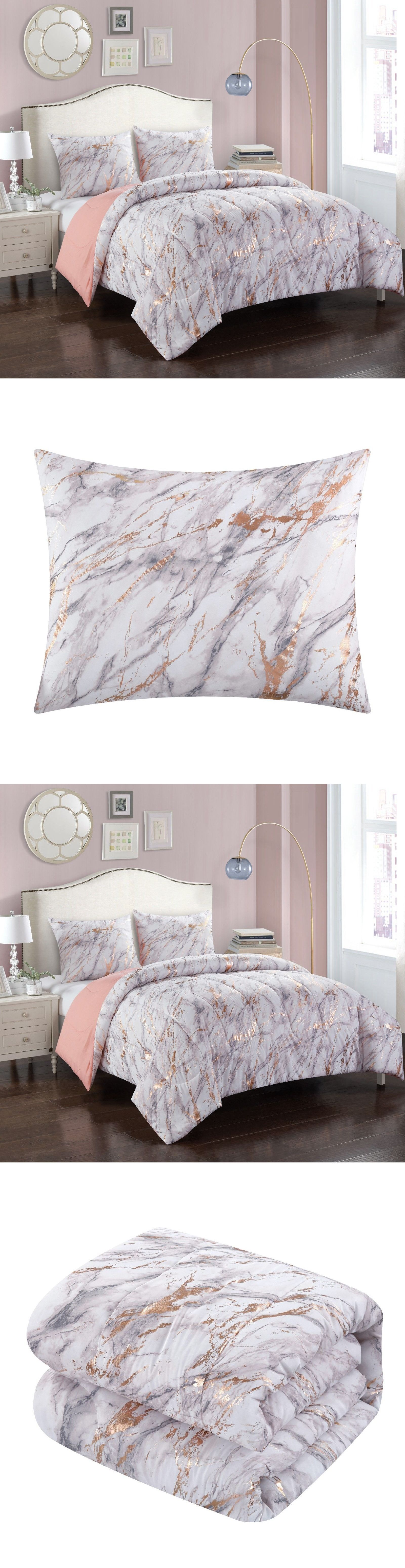 Comforters And Sets 66728 Rose Gold Metallic Marble Comforter Set Twin Twin Xl Full Queen Washable Buy It Now Rose Gold Bed Marble Comforter Comforter Sets