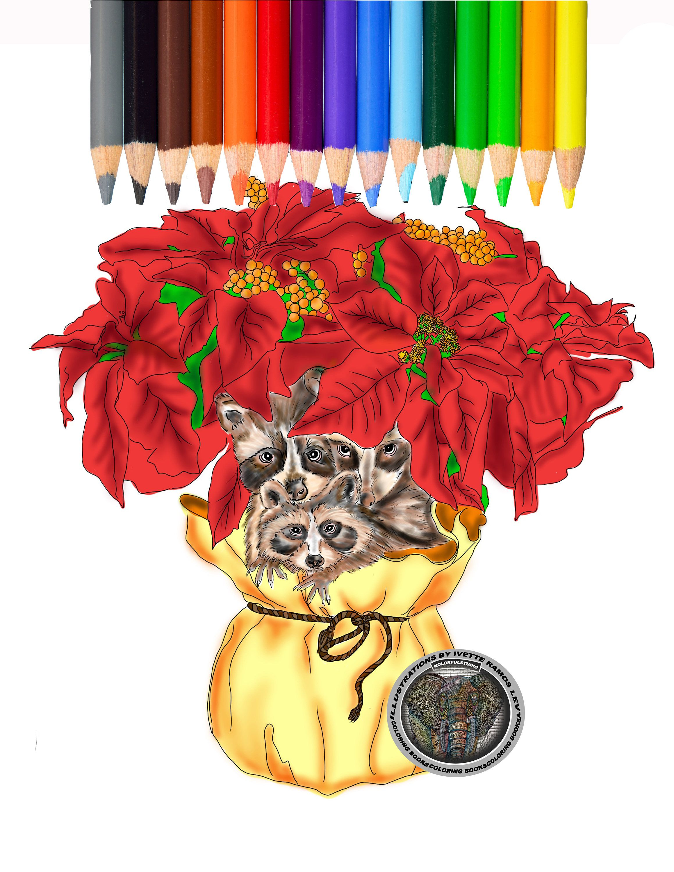 Coloring pages, coloring book, Poinsettia, christmas, raccoon ...