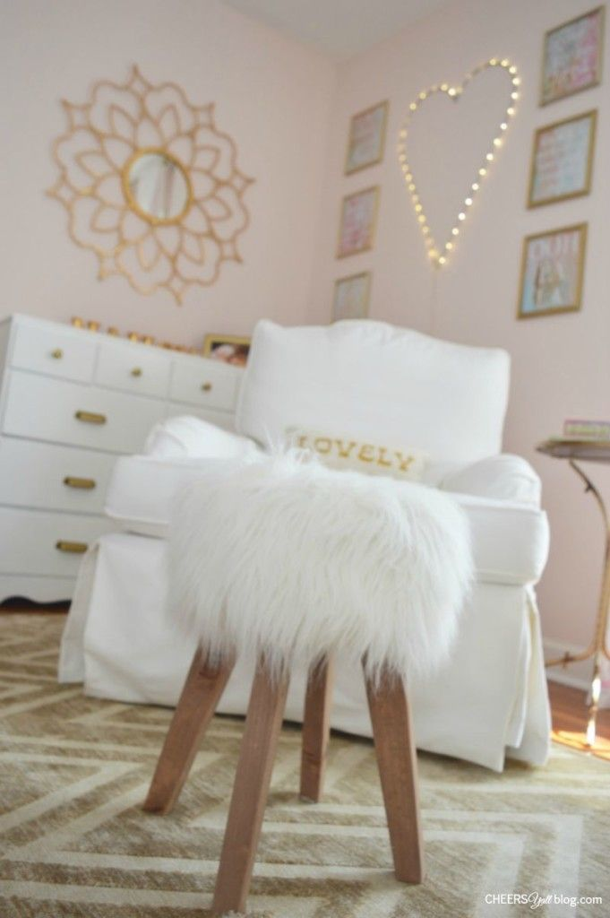Fluffy And Feminine Pink And Gold Nursery Nook. Love!