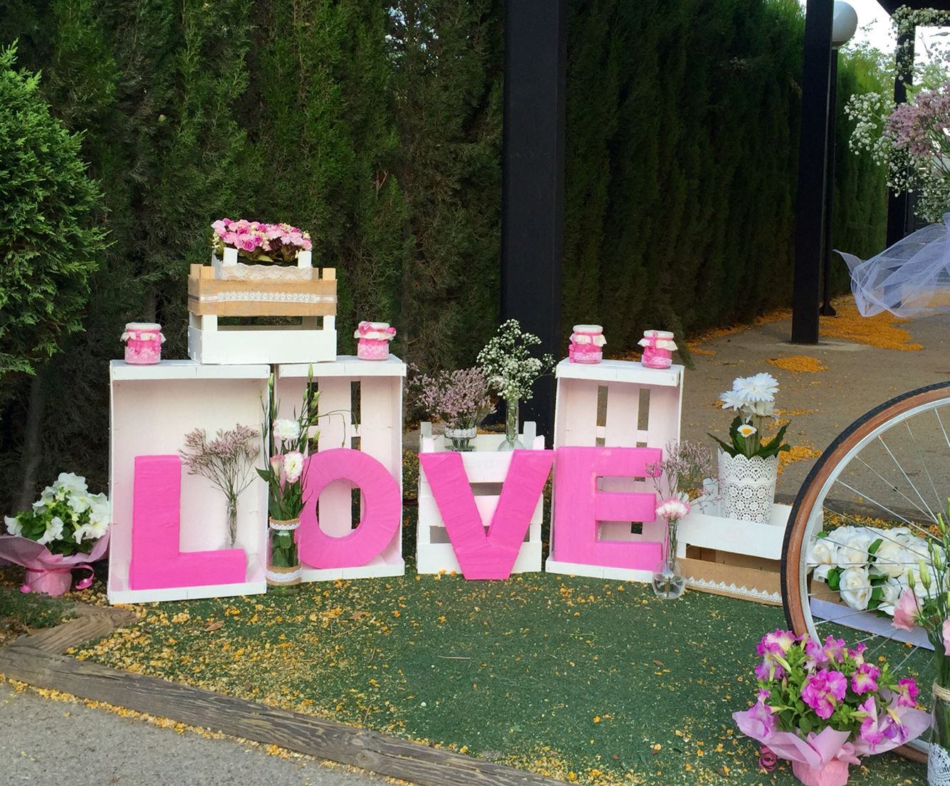 Decoracion boda vintage rom ntica bici con flores for Decoracion romantica vintage
