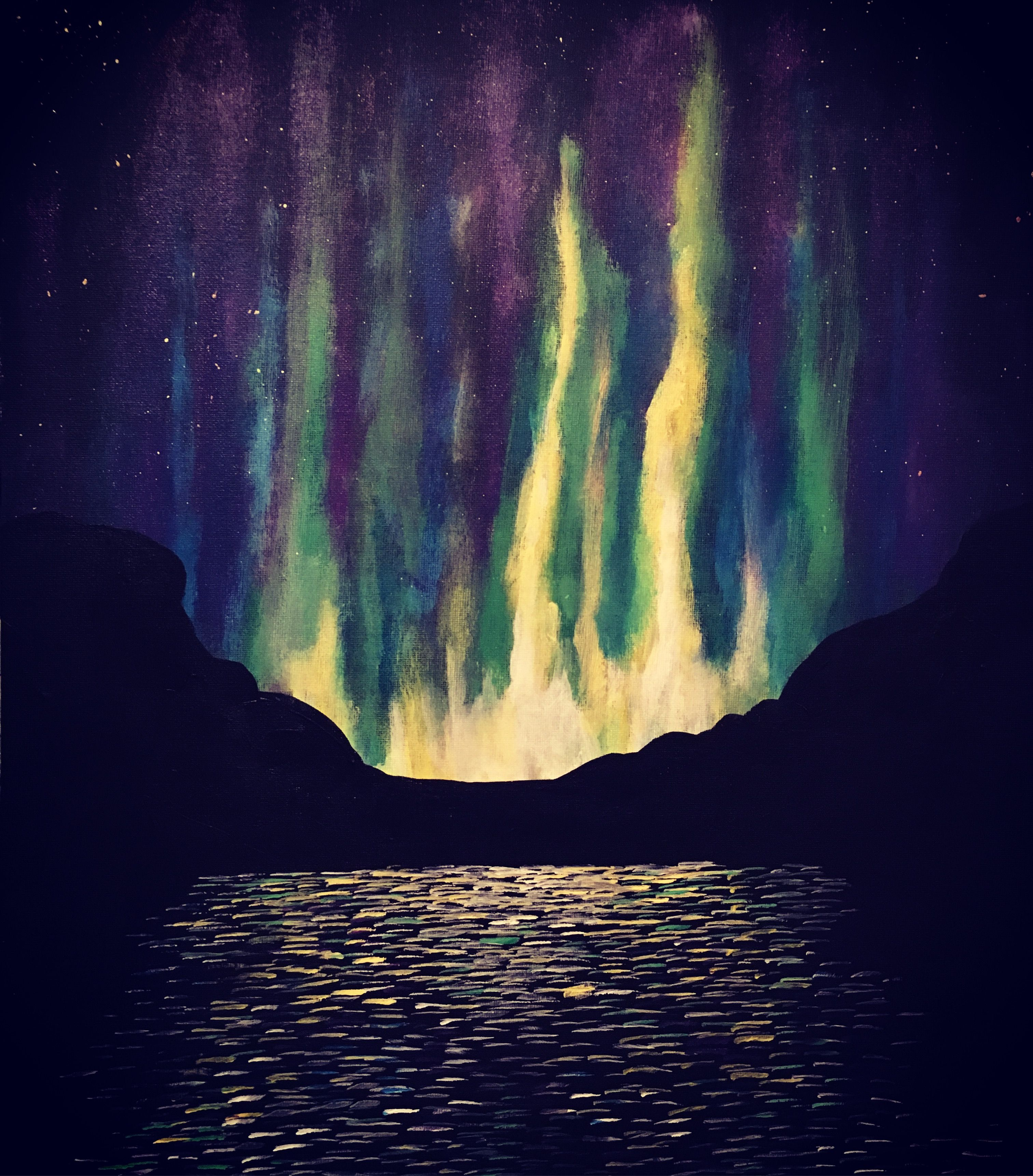 Northern lights painted on canvas with acrylic, by Mona Nyhaugen.