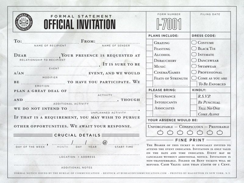 Bureau of Communication - formal notices for every occasion Found - formal invitation via email