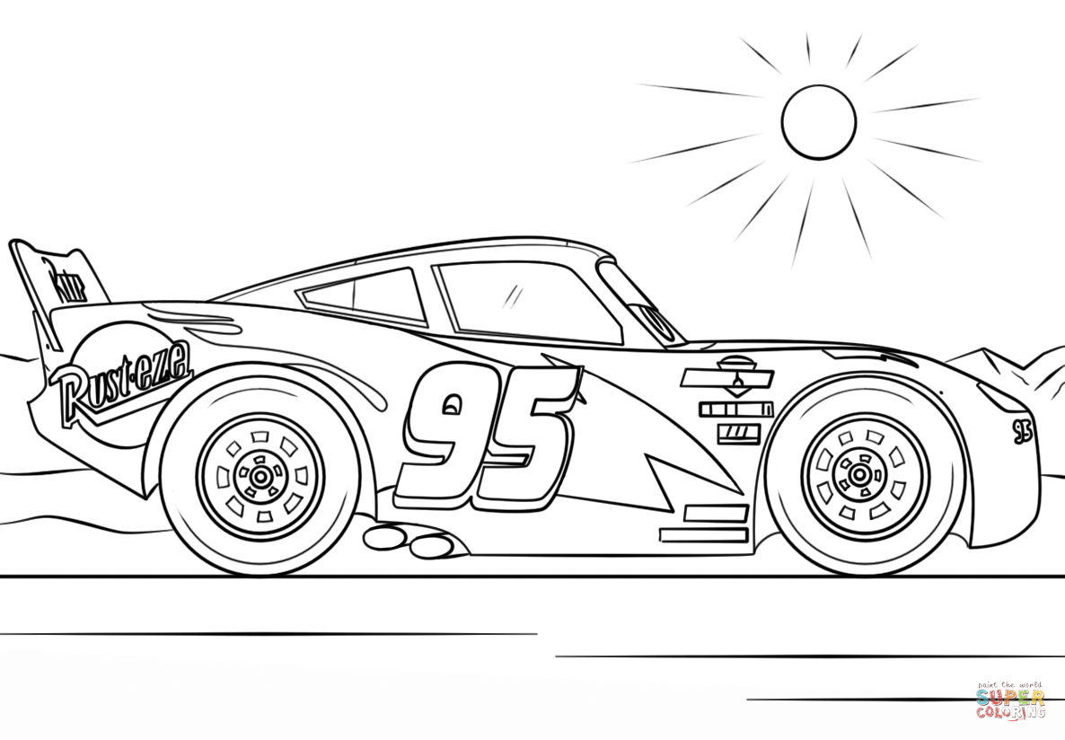 Lightning Mcqueen From Cars 3 Super Coloring In 2020 Cars Coloring Pages Race Car Coloring Pages Disney Coloring Pages