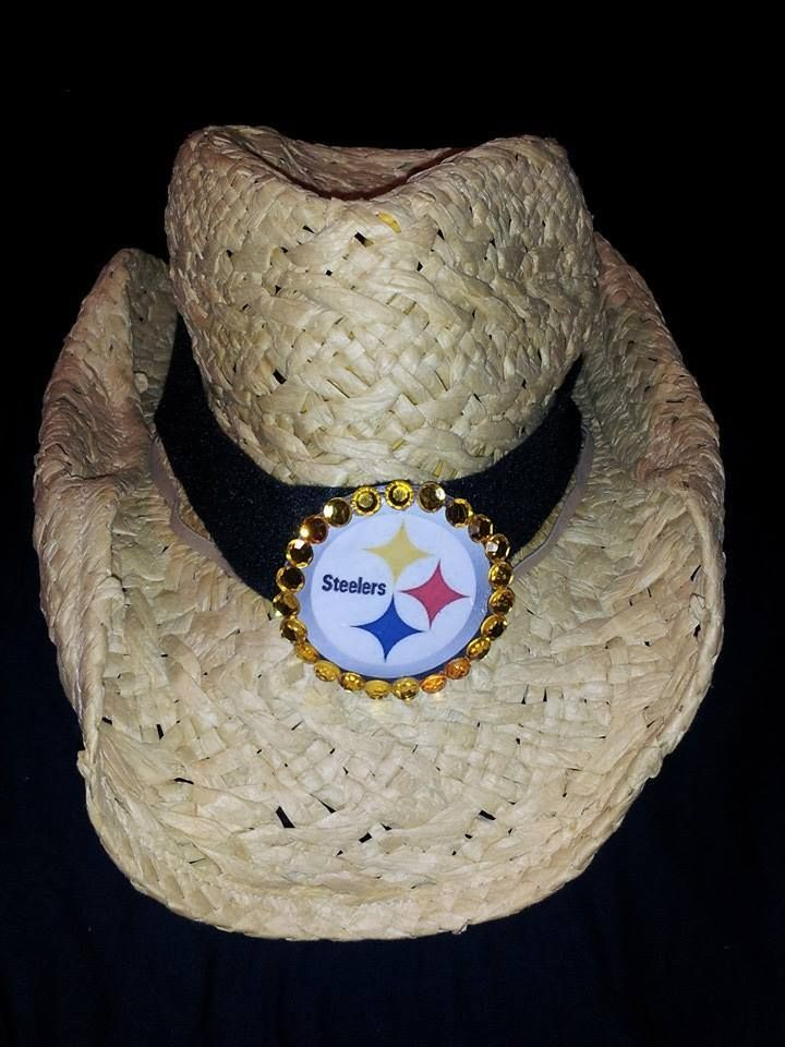 9069c236e6417 My steelers cowboy hat with gold stones. I made the band and emblem ...
