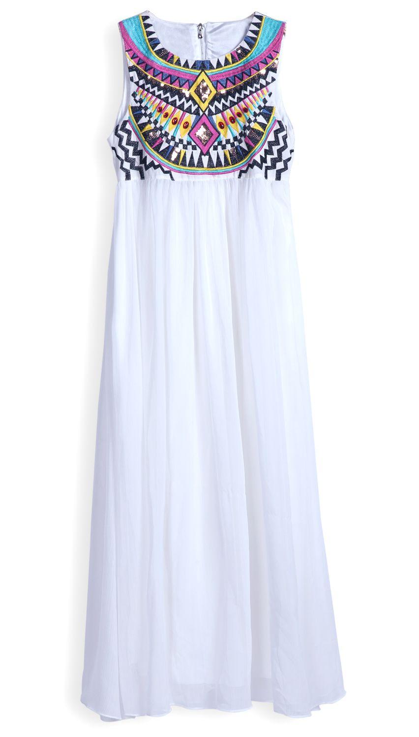 Vestido Gasa Plisado Bordado Blanco Eur3425 Vestidos