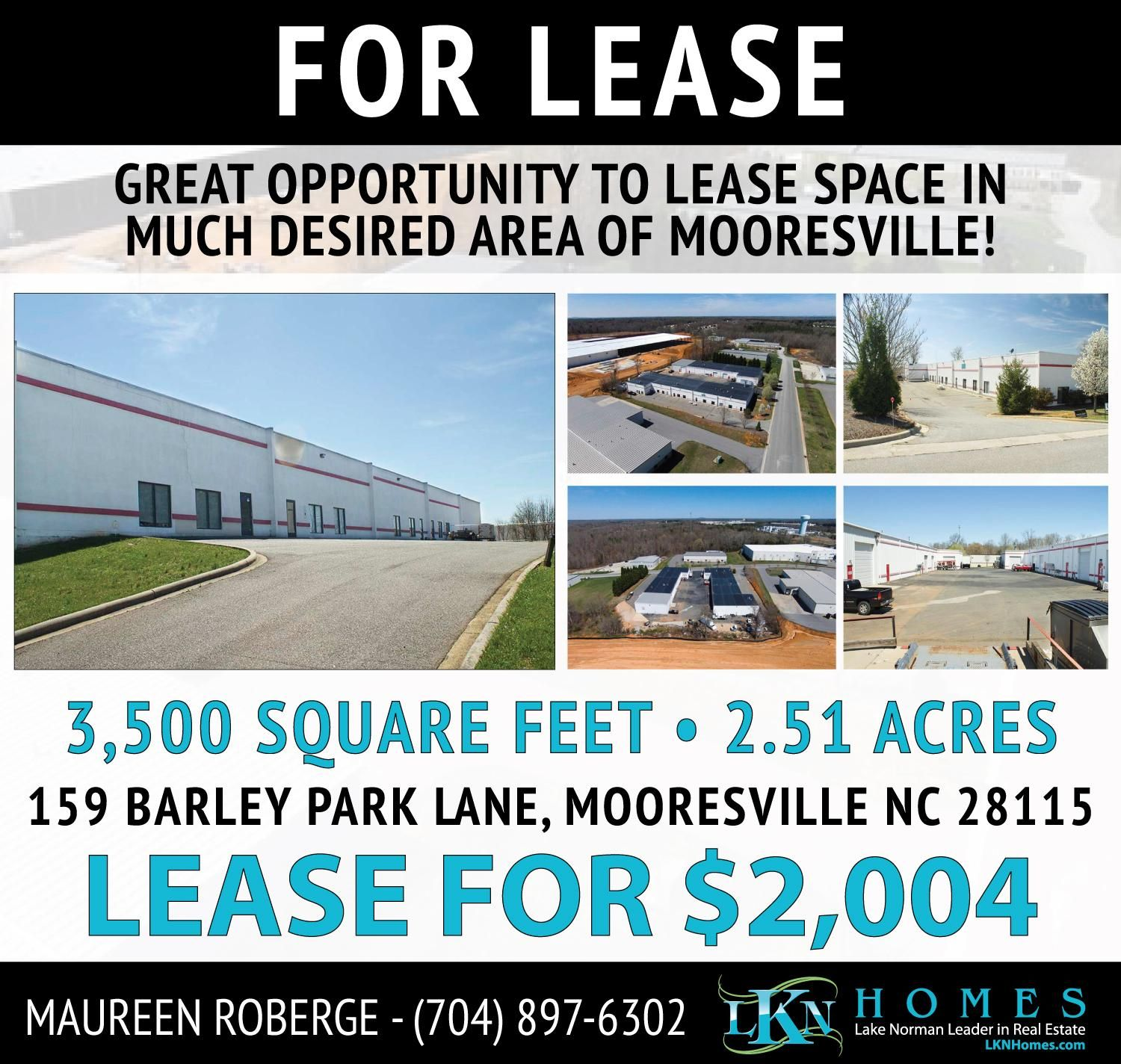 Grrat Opportunity To Lease Space In Much Desired Mooresville